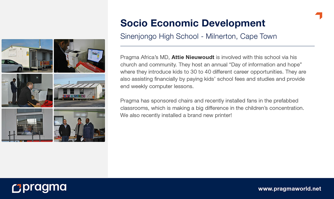 Socio Economic Development - Sinenjongo High School - Milnerton, Cape Town