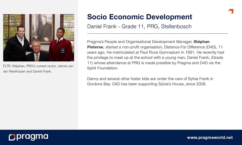 Socio Economic Development - Daniel Frank - Grade 11, PRG, Stellenbosch