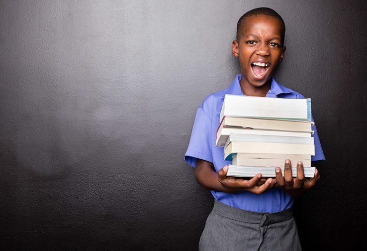 Boy with textbooks